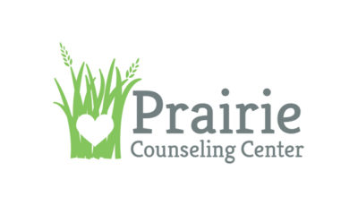 Prairie Counseling Center logo, a heart outlined by prairie grass