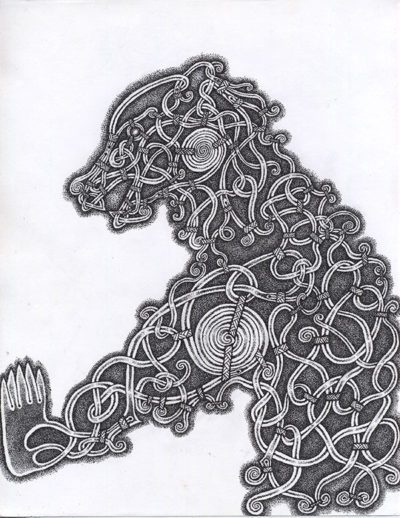 Viking knot-work bear made out of black dots on white paper