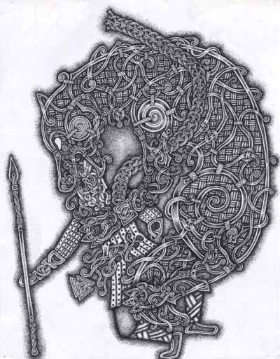 Fenrir Devouring Odin in a Viking knot-work style: black dots of ink on white paper