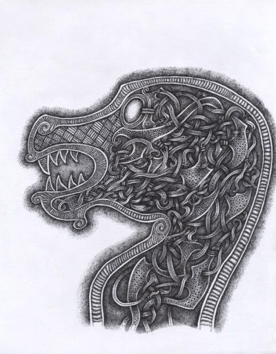 An Oseberg style dragon head consisting of black dots on white paper