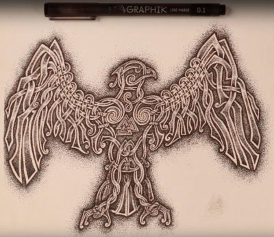 Blood Eagle piece with pen on top of sketch note book