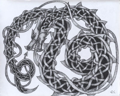 Celtic knot-work dragon consisting of black dots and lines on white paper