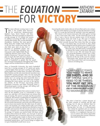Acticle depicting Greenville University basketball player shooting the basket ball