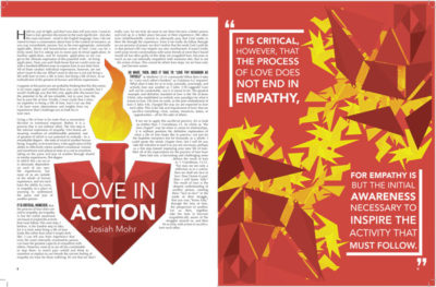 Article about living a life of love. This depicts a burning heart behind the title and then an explosion of triangles on the other side with a pull quote