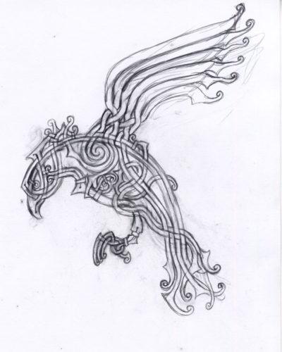 Viking Knot-work Raven Sketch