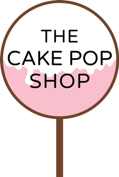 "Cake pop logo with the text, ""the cake pop shop' in front of the cake pop"